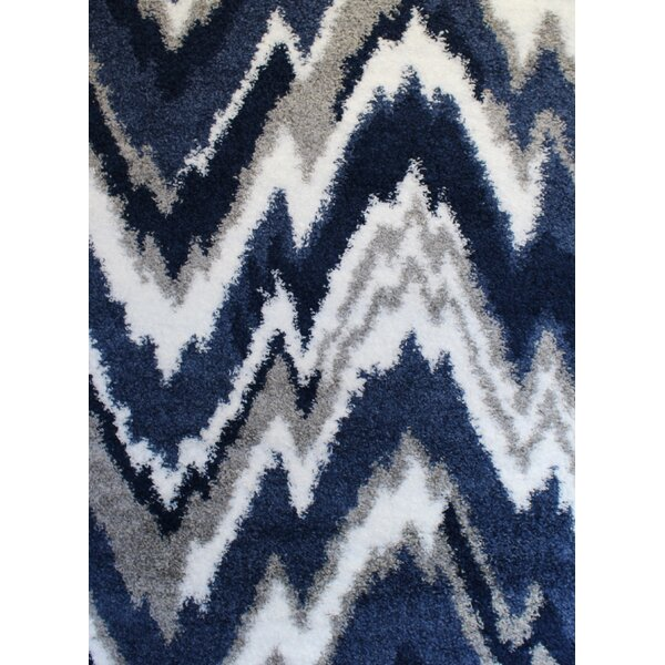 Quarterman Shaggy Zig-Zag Gray/Navy Blue Area Rug by Wrought Studio