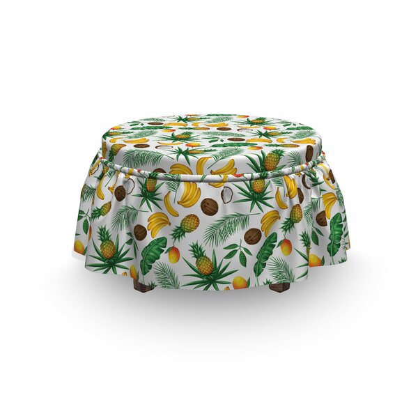 Banana Leaf Coconut Pineapple 2 Piece Box Cushion Ottoman Slipcover Set By East Urban Home