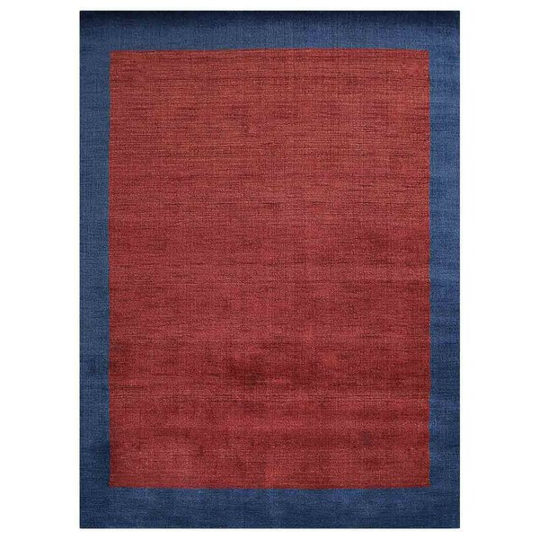 Creager Hand-Knotted Wool Red/Blue Area Rug by Ebern Designs
