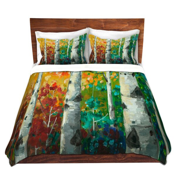 Color Birch Tree Duvet Cover Set