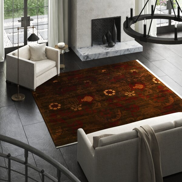 Super Tibetan Floral Hand-Knotted Chocolate Area Rug