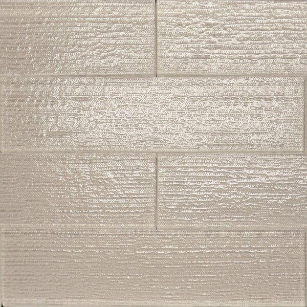 Linen Textured 3 x 12 Glass Subway Tile in Mist by The Bella Collection