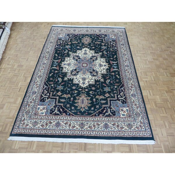 One-of-a-Kind Padro Heriz Hand-Knotted Wool Green Area Rug by Bloomsbury Market