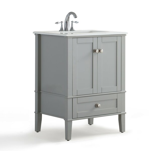 Chelsea 25 Single Bathroom Vanity with Quartz Marble Top by Simpli Home