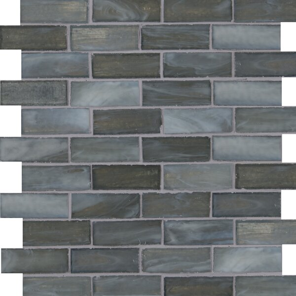 Oceano Brick Glass Mosaic Tile in Taupe in Blue by MSI
