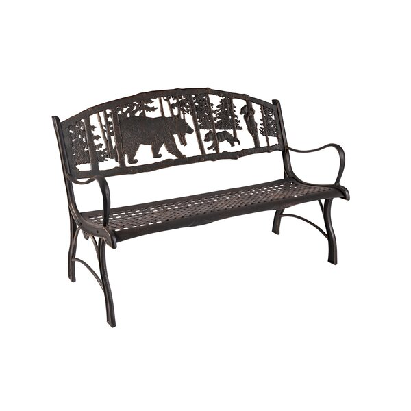 Hennessey Bear Cast Iron Park Bench by Loon Peak