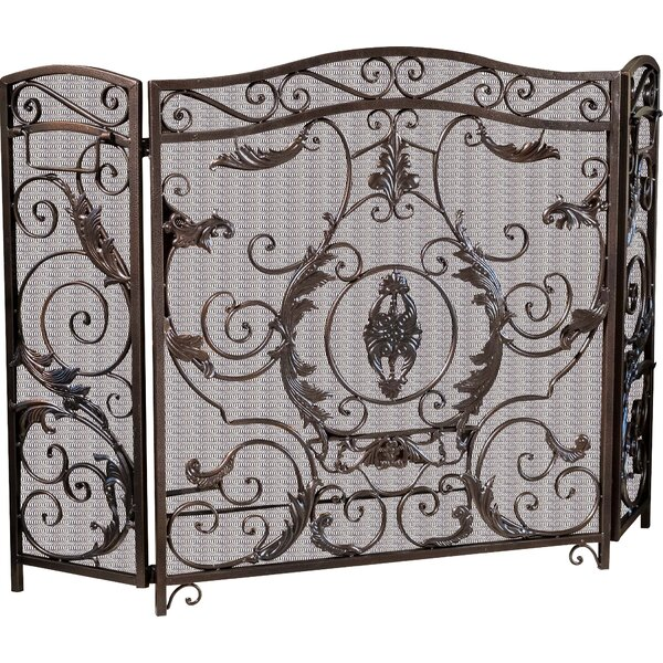 Henricks 3 Panel Iron Fireplace Screen by Astoria Grand