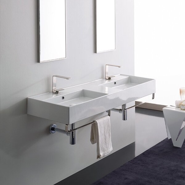 Ceramic 56 Wall Mounted Bathroom Sink with Overflow by Scarabeo by Nameeks