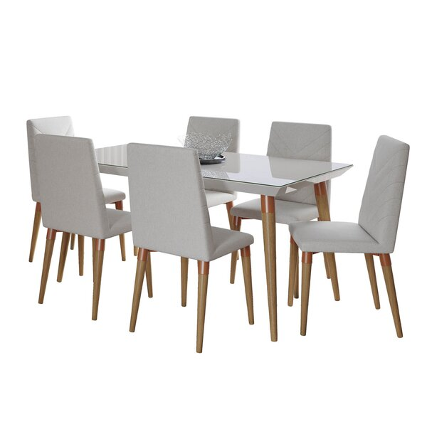Lemington 7 Piece Solid Wood Dining Set By George Oliver Savings