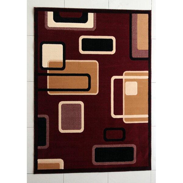 Enzo Burgundy Area Rug by Ebern Designs