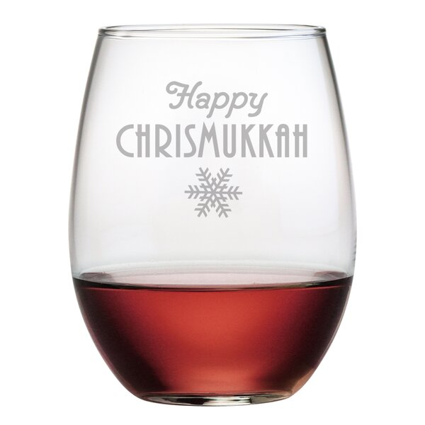 Happy Chrismukkah Stemless Wine Glass (Set of 4) by Susquehanna Glass