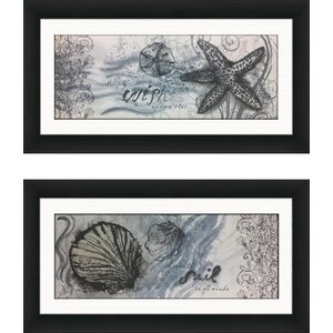 'Starfish' 2 Piece Framed Graphic Art Print Set by Highland Dunes