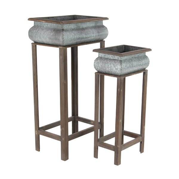 Rustic Curved Square 2-Piece/Planter Box Set with Stand by Cole & Grey