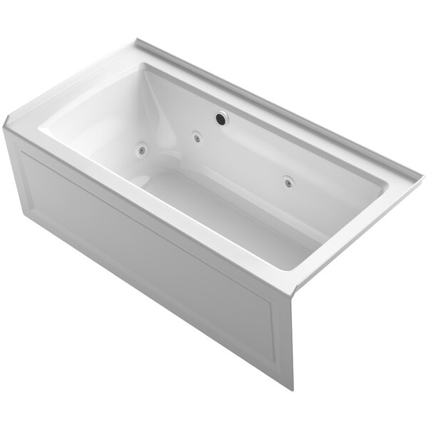 Archer Alcove Whirlpool Bath with Bask Heated Surface, Integral Apron, Tile Flange and Right-Hand Drain by Kohler