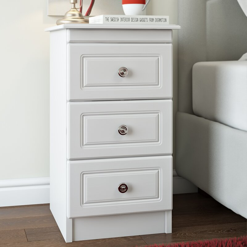august grove kenmore 3 drawer bedside table & reviews | wayfair.co.uk Different Bedside Tables