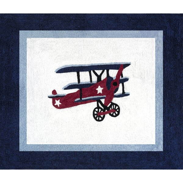 Vintage Aviator Blue/White Area Rug by Sweet Jojo Designs