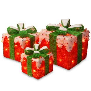3 piece gift box christmas decoration set - Decorative Christmas Boxes With Lights