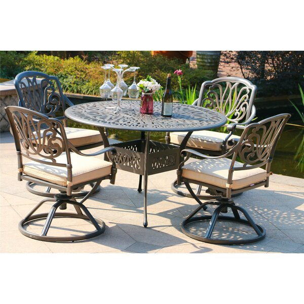 Ballou Aluminum 5 Piece Sunbrella Dining Set with Sunbrella Cushions by Canora Grey