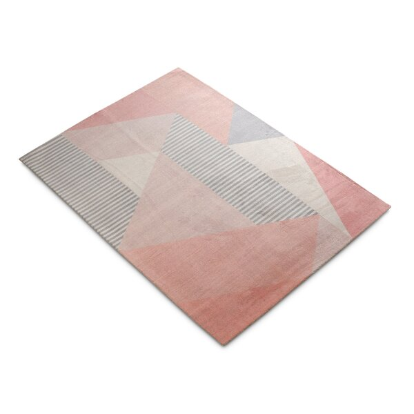 Branner Geometric Blush/Gray Area Rug by Ivy Bronx