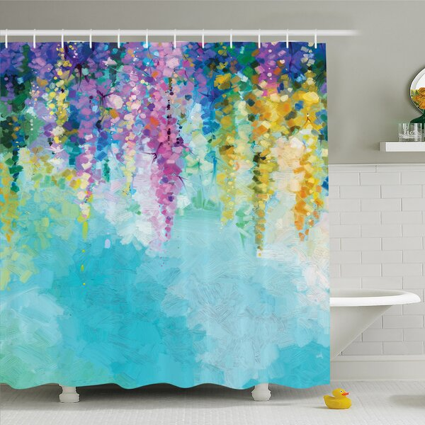 Watercolor Flower Home Ivy Romantic and Inspiring Landscape Spring Floral Art Nature Theme Shower Curtain Set by Ambesonne