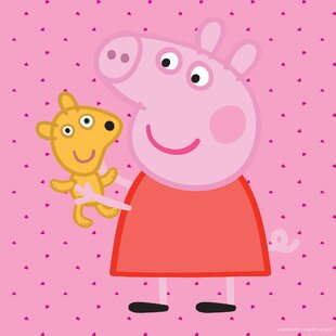 Peppa pig table wayfair peppa pig peppa and her puppy graphic art on wrapped canvas aloadofball Image collections