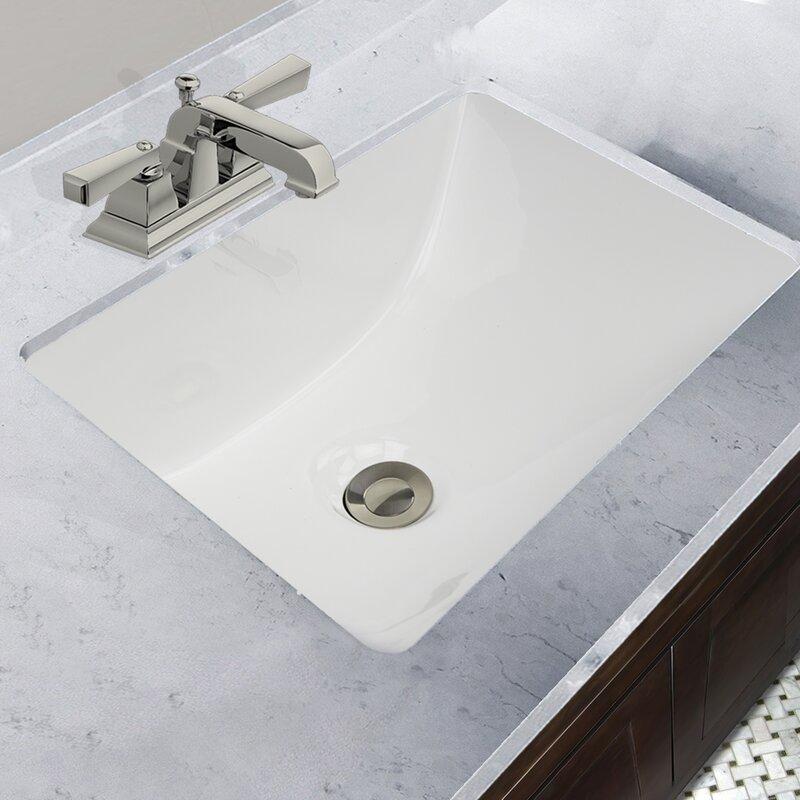 Great Point Ceramic Rectangular Undermount Bathroom Sink With Overflow