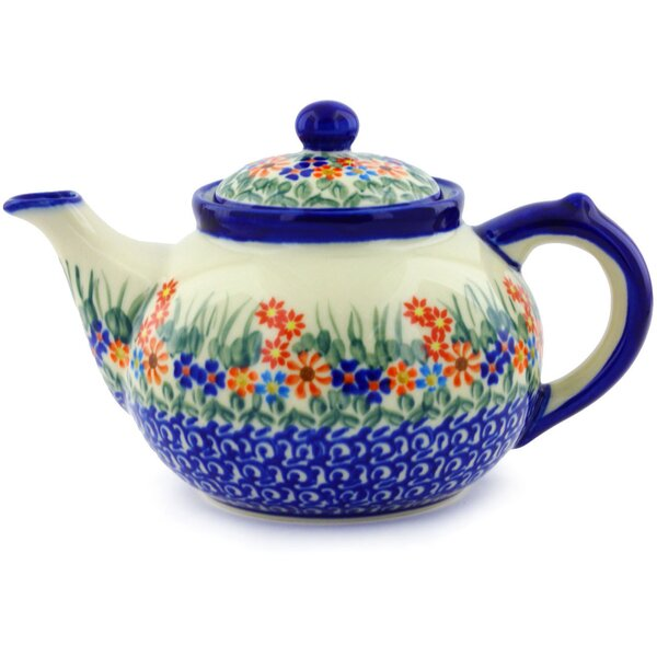 Blissful Daisy 1.6 Qt. Polish Pottery Teapot by Polmedia