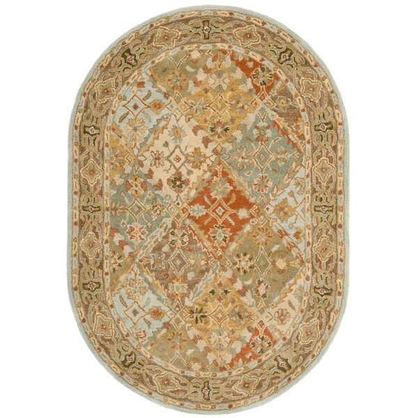 Albert Hand-Tufted Wool Light Blue/Light Brown Area Rug by Charlton Home