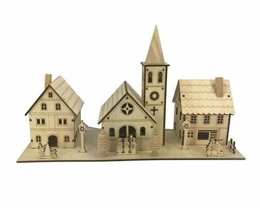 The Holiday Aisle Nature Plywood Small House With Lights Wayfair