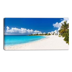 Caribbean Beach Panorama Landscape Photographic Print on Wrapped Canvas by Design Art