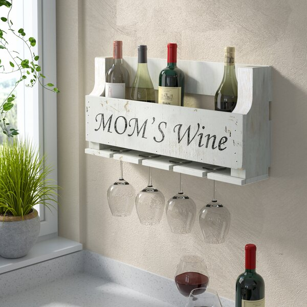 Truluck Mom's Wine 6 Bottle Wall Mounted Wine Bottle and Glass Rack by Winston Porter Winston Porter