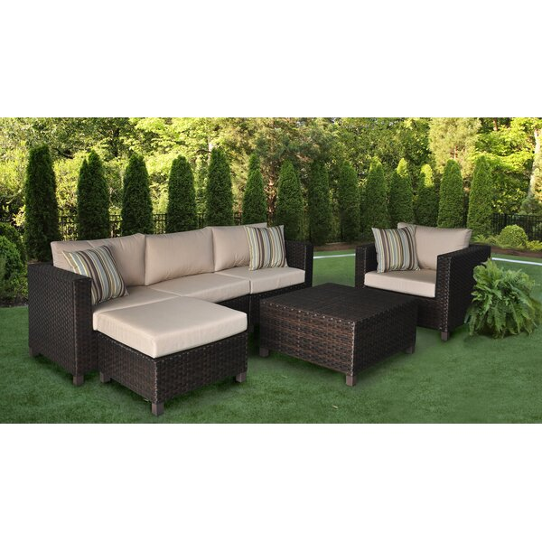Bordner 4 Pieces Rattan Sectional Seating Group with Sunbrella Cushions by Wrought Studio