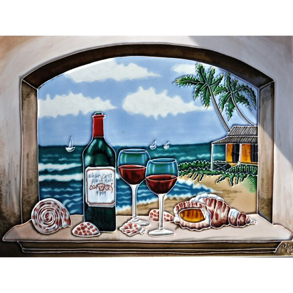 Arch Wine with Ocean Tile Wall Decor by Continental Art Center