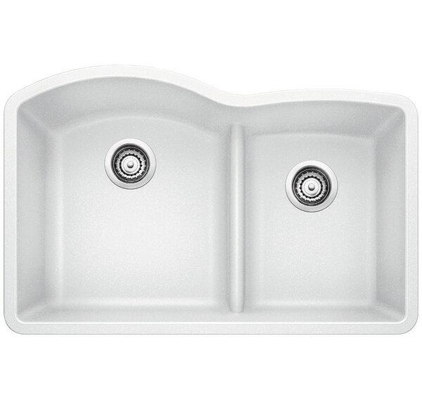 Diamond 32 L x 20.88 W Low Divide Undermount Kitchen Sink by Blanco