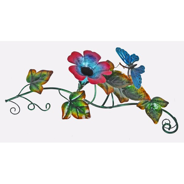 Butterfly Glass/Metal Flower Tabletop Fountain by Continental Art Center