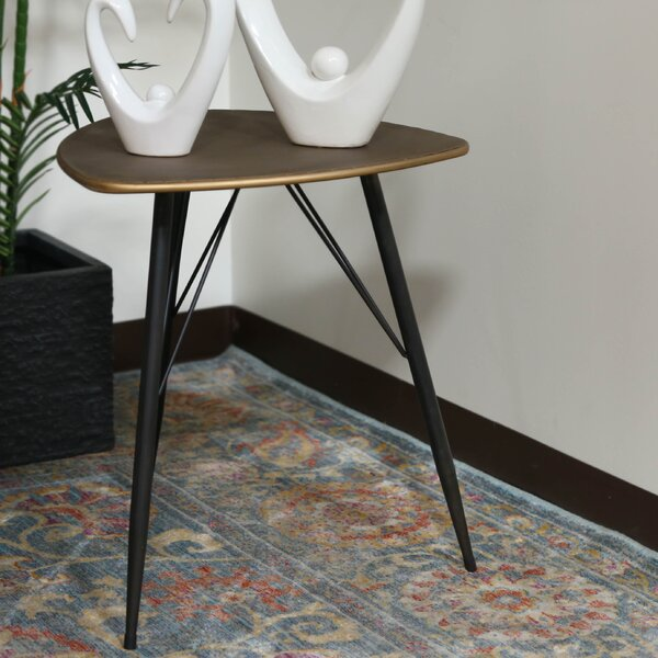 Petersham Triangular Metal End Table by Union Rustic