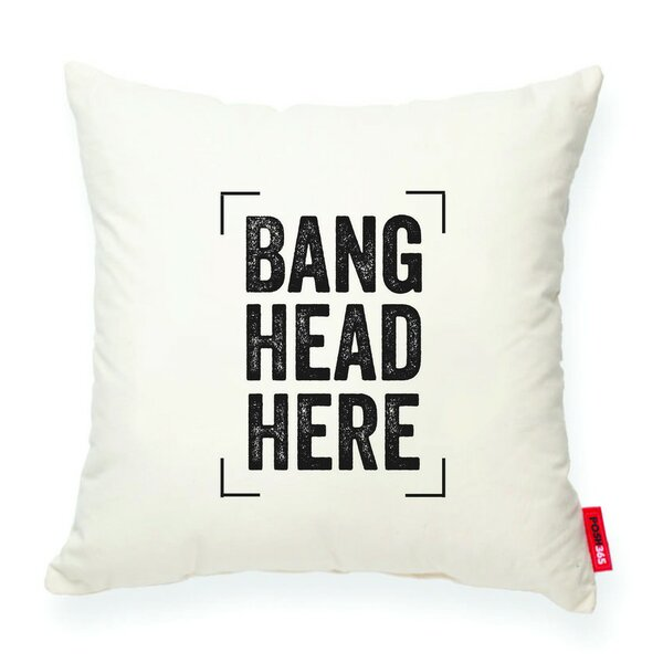 Expressive Bang Head Here Decorative Cotton Throw Pillow by Posh365