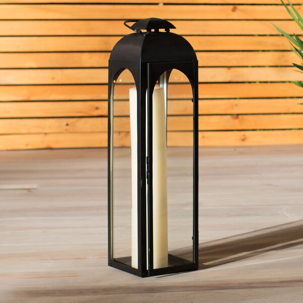 Metal and Glass Lantern by Brayden Studio