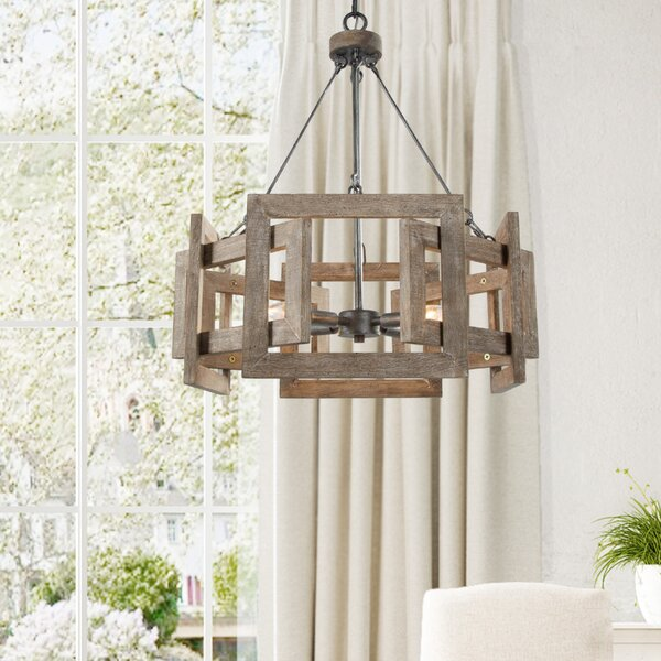 Dorthe 4 - Light Unique Geometric Chandelier By Gracie Oaks