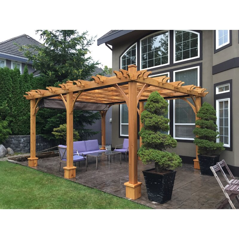 Cedar Pergola Solid Wood With Canopy