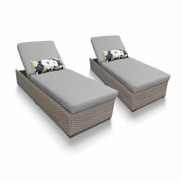 Rockport Reclining Sun Chaise Lounge Set with Cushion (Set of 2)