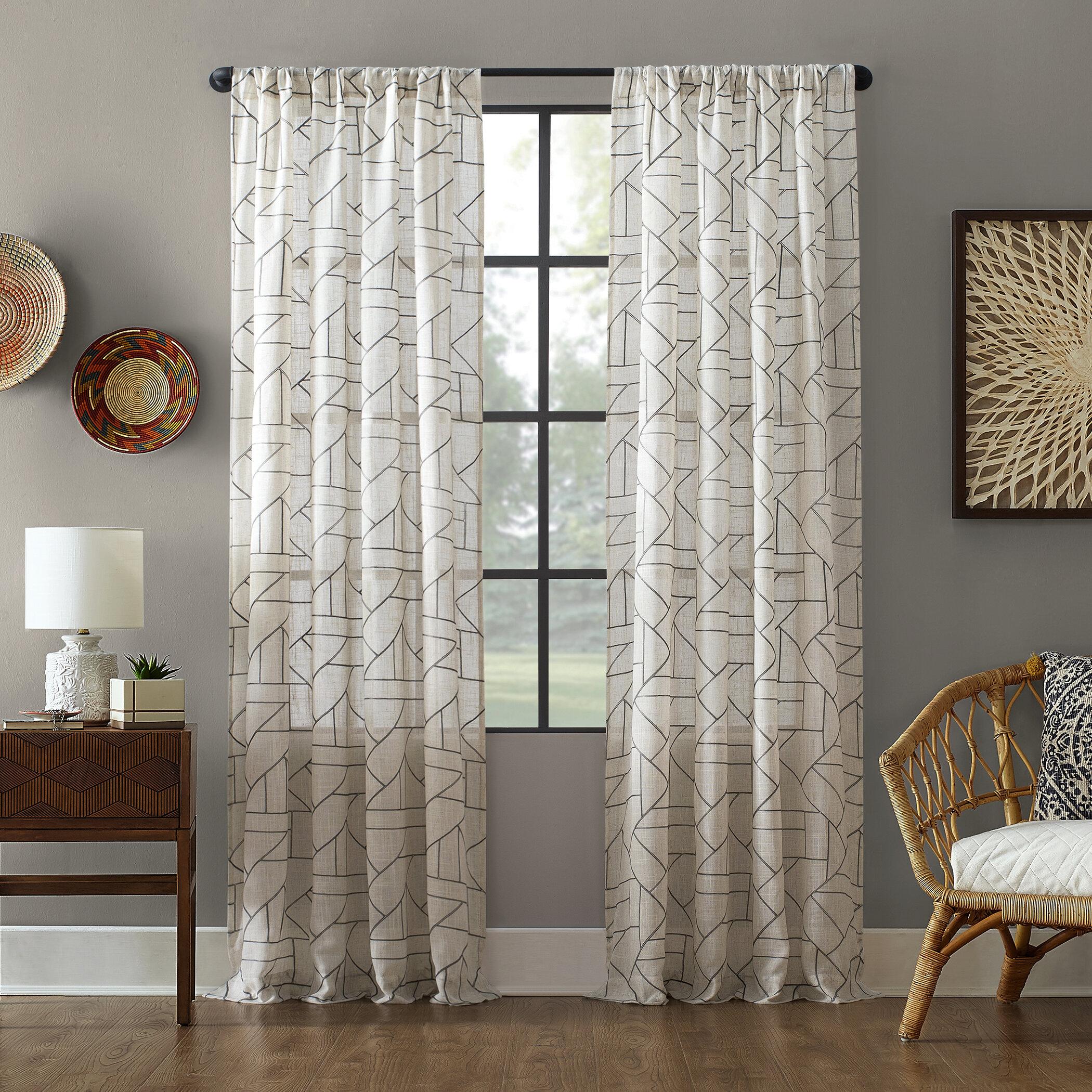 Embroidered Linen Geometric Sheer Rod Pocket Single Curtain Panel Reviews Allmodern