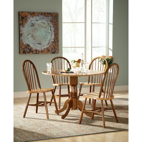 Spradling Round Top 5 Piece Drop Leaf Solid Wood Dining Set by August Grove