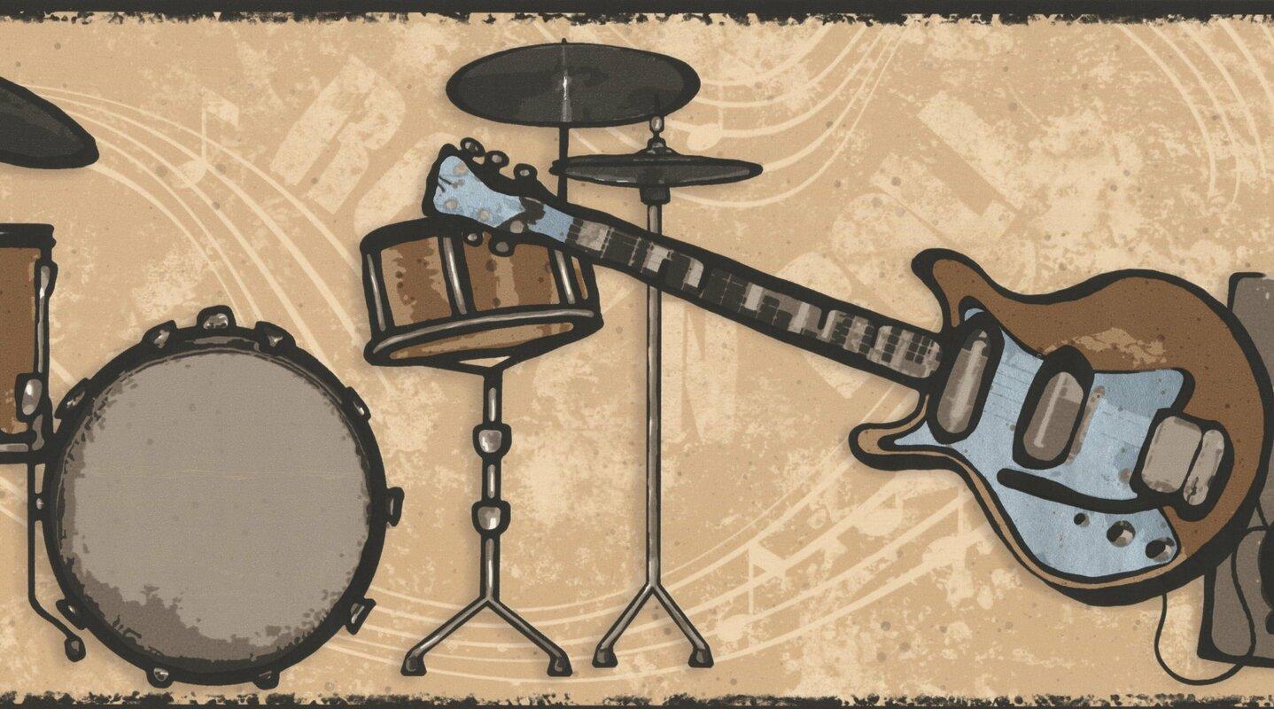 York Wallcoverings Drums Guitar Loudspeaker Sepia Wall Border ...