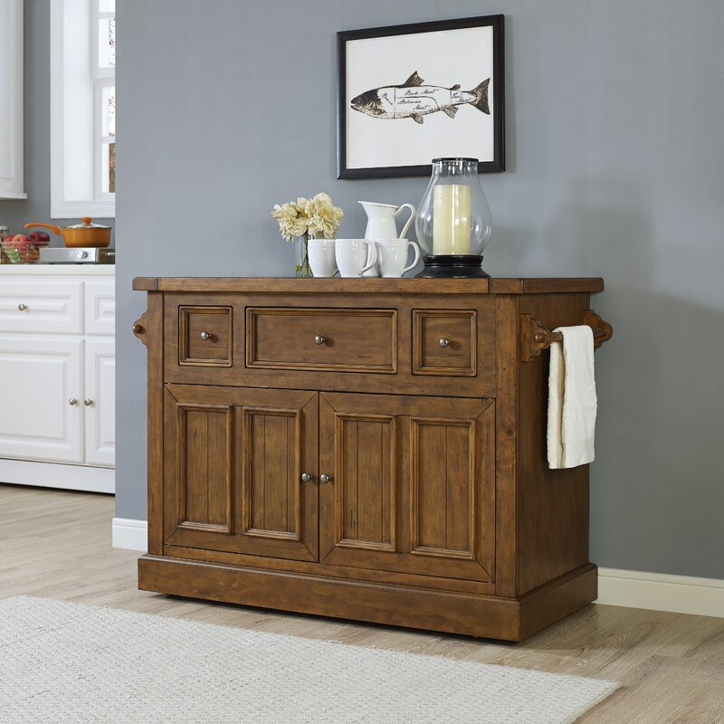 Kitchen Island With Marble Top: Loon Peak Ordway Kitchen Island With Marble Top & Reviews