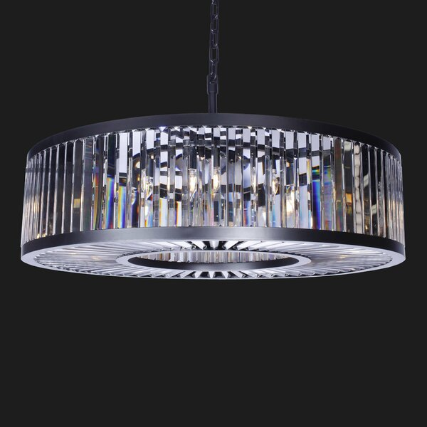 Benji 15 - Light Shaded Drum Chandelier with Wrought Iron Accents by Rosdorf Park Rosdorf Park