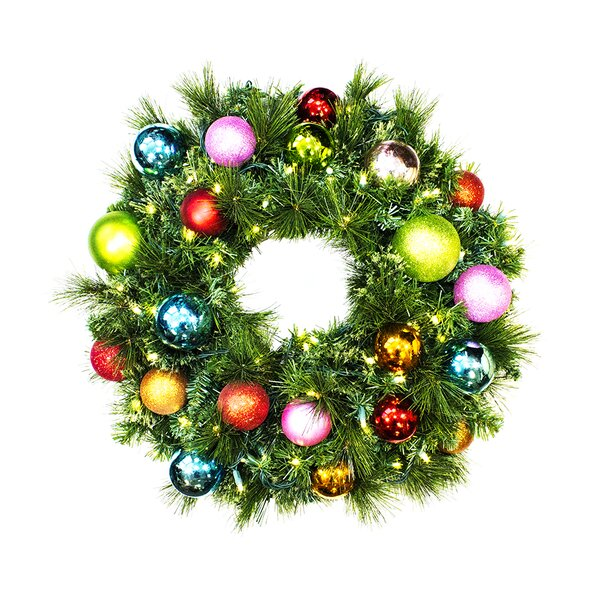 Pre-Lit Sequoia Wreath Decorated with Tropical Ornament by Queens of Christmas