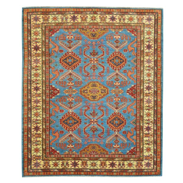 Kazak Hand-Knotted Blue/Red Area Rug by Wildon Home ®