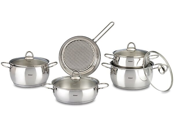 Mercury 9 Piece Stainless Steel Cookware Set by Hisar