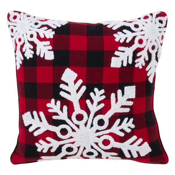 Raoul Buffalo Plaid Snowflake Design Cotton Throw Pillow by The Holiday Aisle